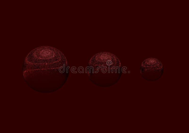 Boll tre röd 3D i röd bakgrund royaltyfri fotografi