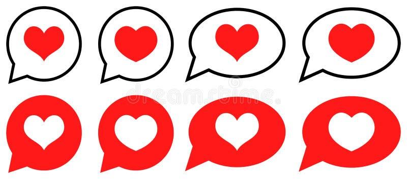Bolla di amore con cuore nelle icone del fumetto illustrazione di stock