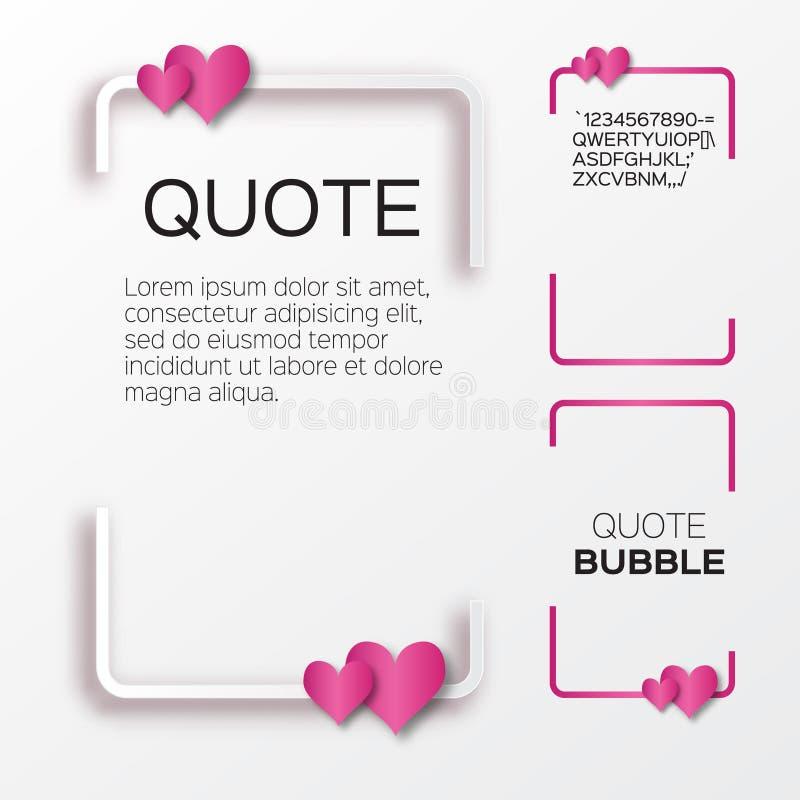 Bolla di citazione con i cuori Il fumetto del biglietto di S. Valentino illustrazione di stock