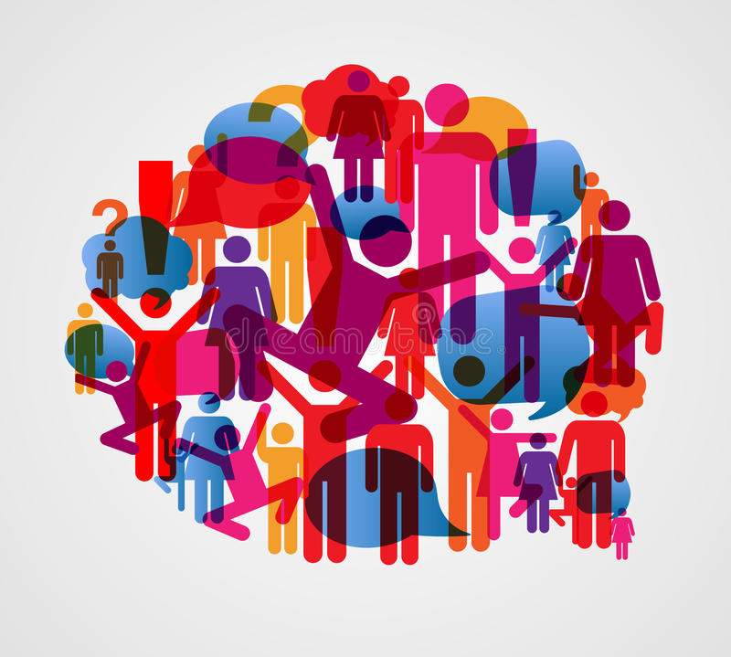 Bolla di conversazione della gente sociale illustrazione di stock