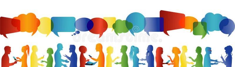Bolla di discorso Comunicazione grande gruppo di persone che parlano Conversazione della folla Comunichi la rete sociale illustrazione vettoriale
