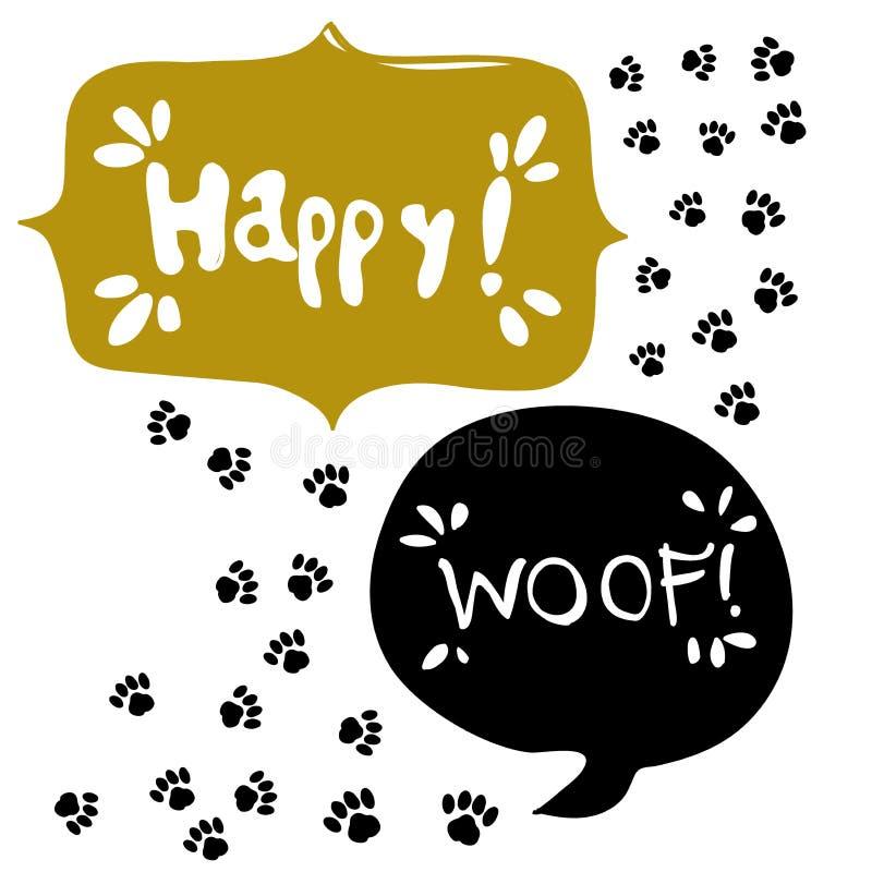 Bolla di discorso testo FELICE Icona del segno della zampa Il cane pets il simbolo di punti illustrazione vettoriale