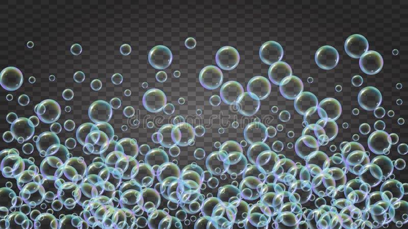 Bolla di sapone Schiuma e saponata detergenti del bagno per la vasca sciampo illustrazione di stock