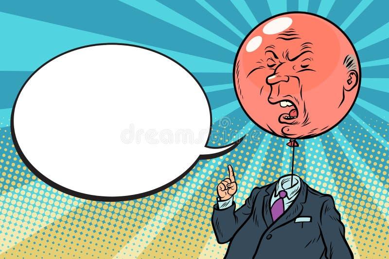 Bolla rossa gonfiata arrabbiata del capo illustrazione di stock