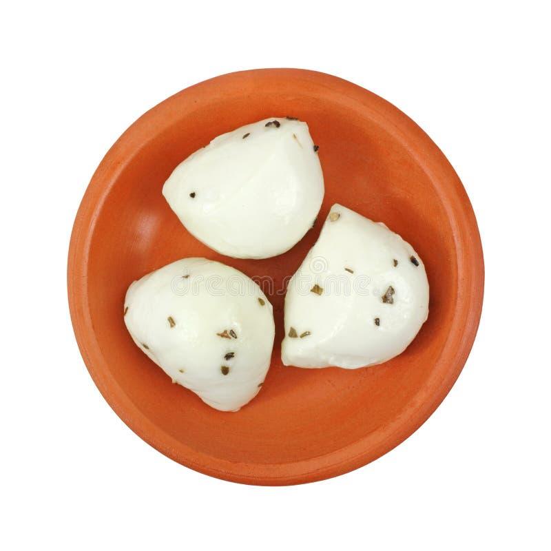 bollar bowlar den små marinated mozzarellaen arkivbild