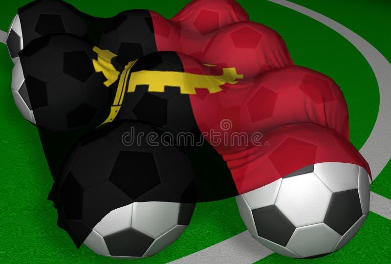 bollar för 3d angola flag framförandefotboll stock illustrationer