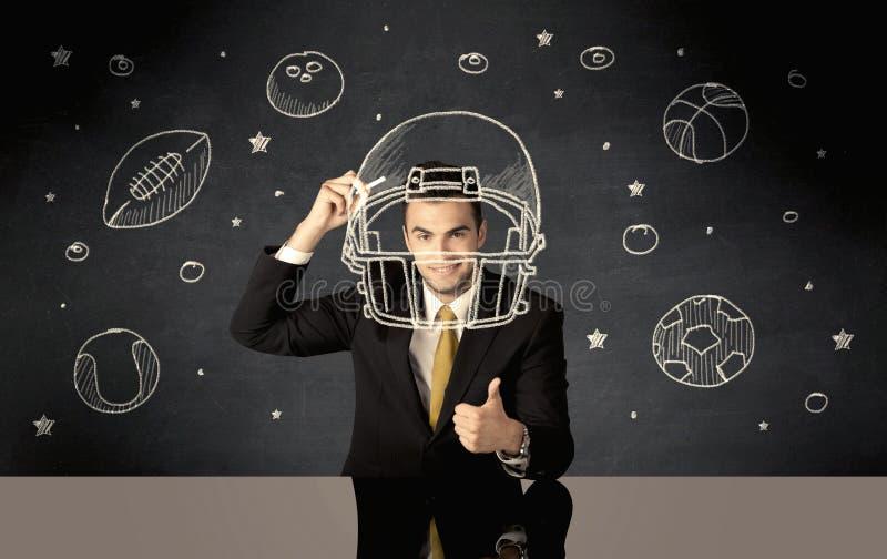 Bollar för för affärsmanteckningshjälm och sport arkivbilder