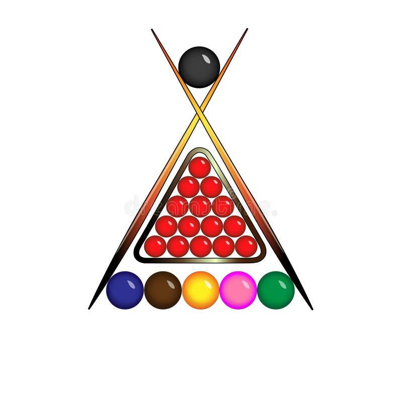 Bollar för snookerlogo stock illustrationer