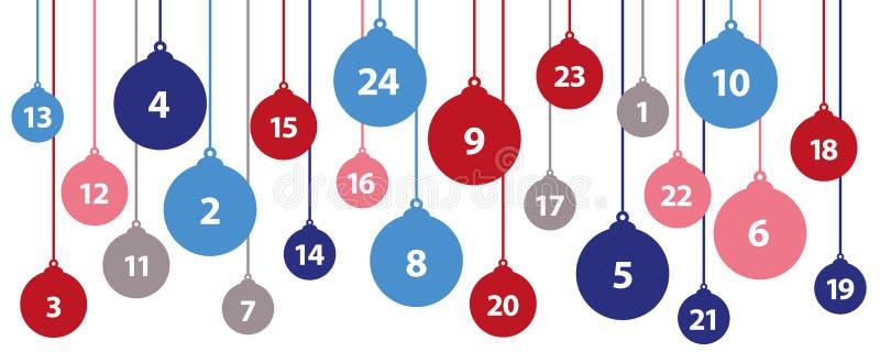 Bollar för träd för jul för Adventkalender 24 royaltyfri illustrationer