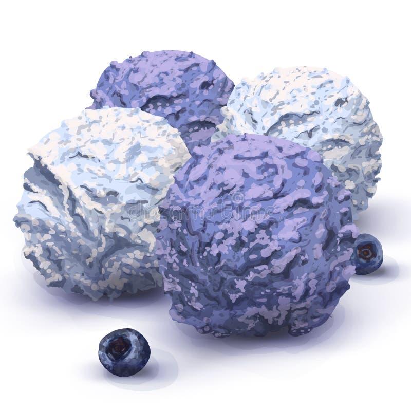 Bollar för vektor tre av läcker kräm- glass i en restaurang, mycket rik smak som göras från naturliga organiska produkter anstryk vektor illustrationer