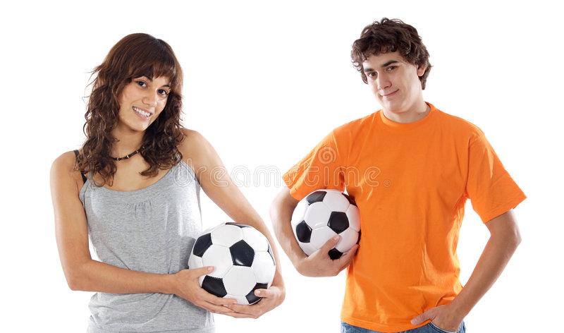 bollar förbunde över vita fotbolltonåringar arkivfoton