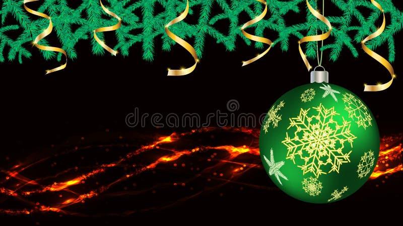 Bollar, julpynt för det nya året, guld- band för granfilialer och ljus, en girland som isoleras på svart vektorbakgrund royaltyfri illustrationer