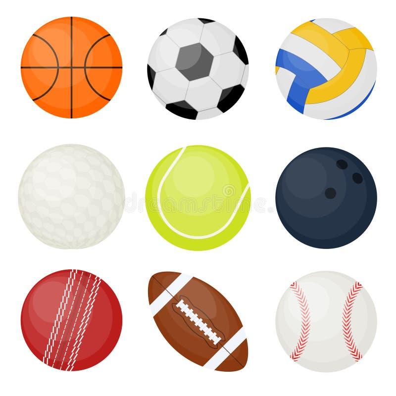 bollar ställde in sportar vektor royaltyfri illustrationer