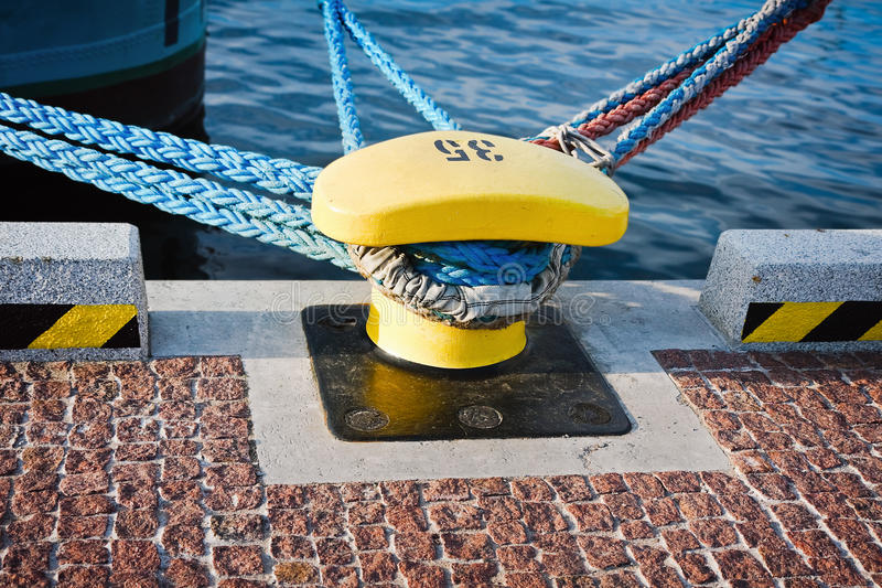 Download Bollard and mooring lines stock photo. Image of pillar - 17079982