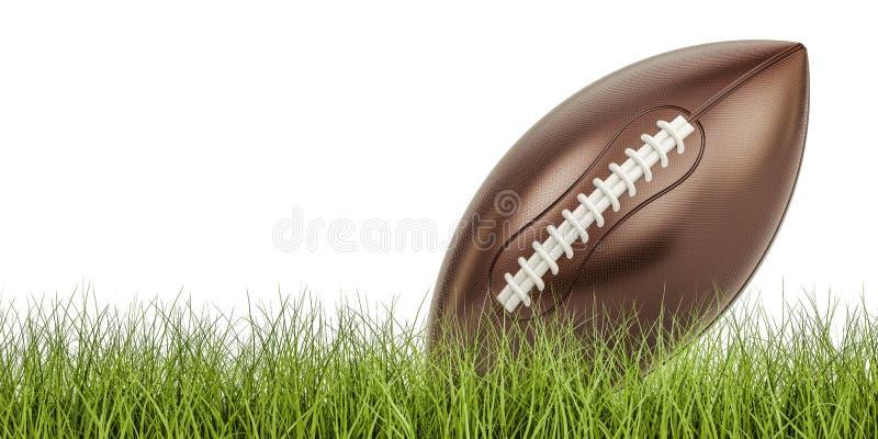 Bollbegrepp för amerikansk fotboll på gräset, tolkning 3D royaltyfri illustrationer