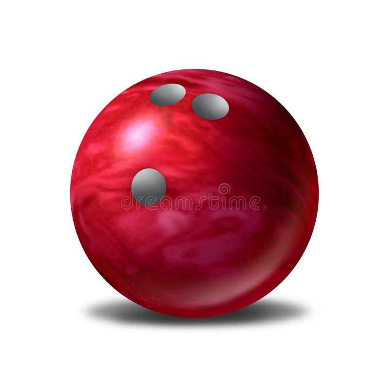 bollbunke som bowlar rött enkelt sportsymbol stock illustrationer