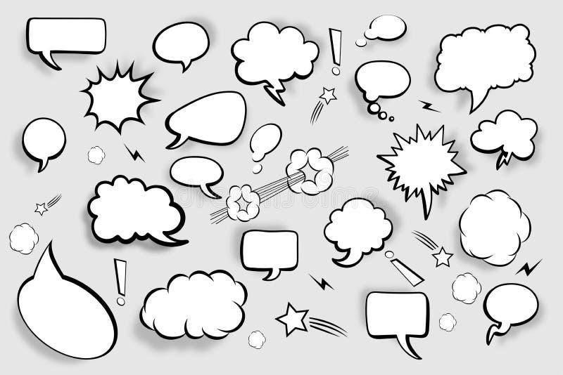 Bolle in bianco di discorso Insieme dei fumetti comici con le ombre Illustrazione di vettore illustrazione vettoriale