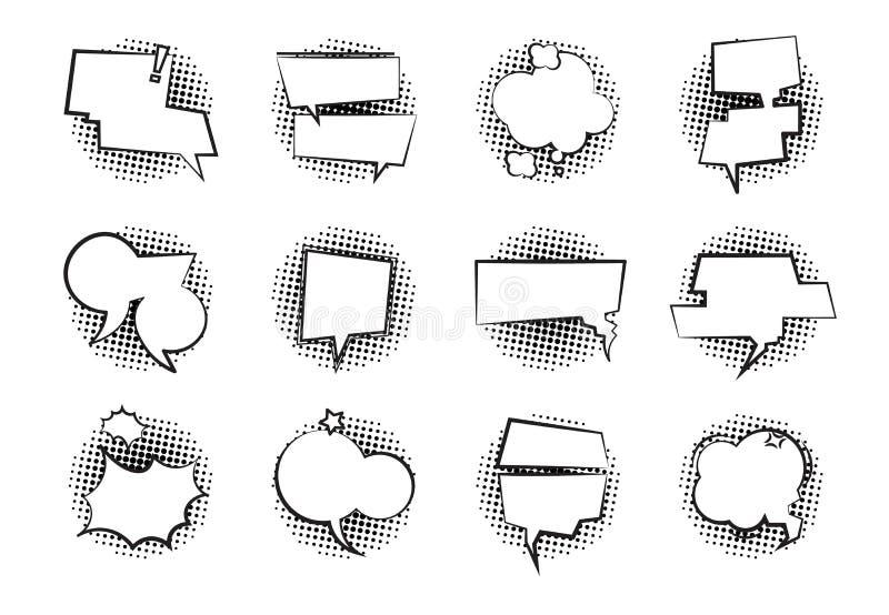 Bolle comiche di discorso Fumetto monocromatico del pallone di dialogo della retro nuvola di conversazione parlare per chiacchier illustrazione vettoriale