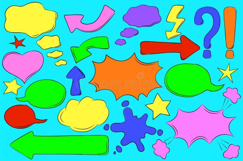 Bolle comiche multicolori per testo nello stile di Pop art Retro clipart della finestra di messaggio illustrazione vettoriale