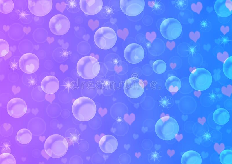 Bolle, cuori e scintille di galleggiamento astratti in blu ed in Violet Gradient Background royalty illustrazione gratis