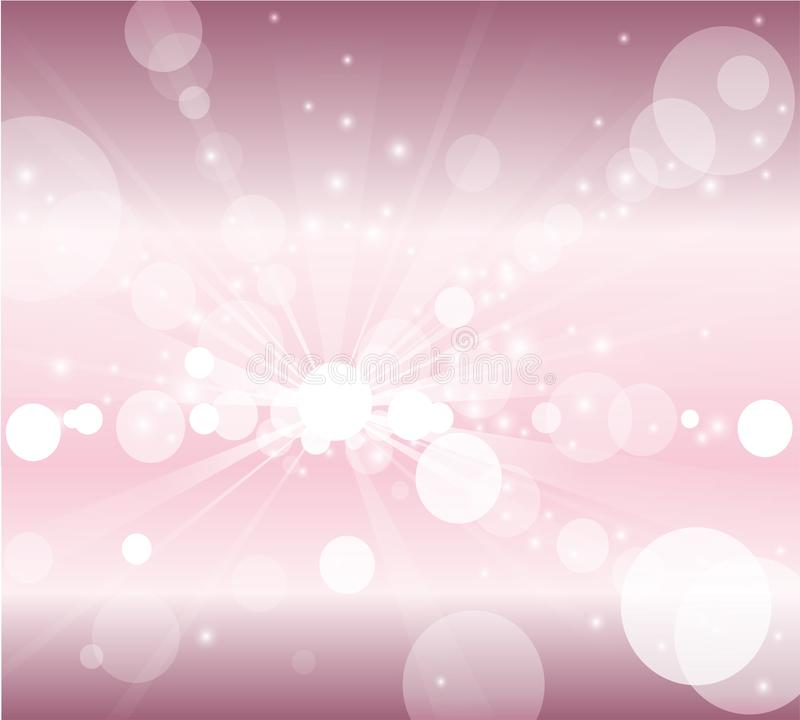 Bolle del fondo rosa e bianco o luci bianche del bokeh illustrazione vettoriale