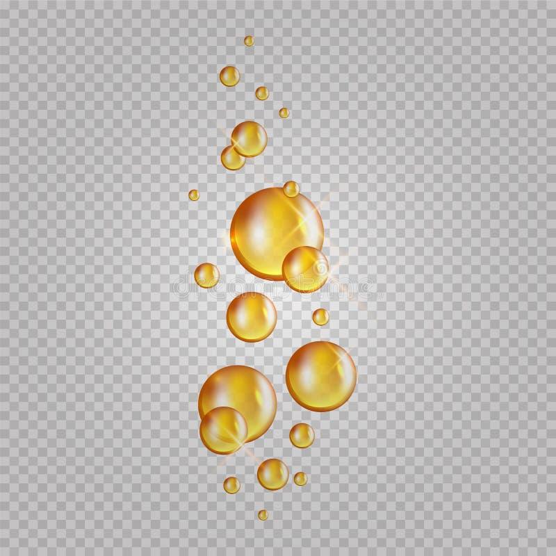 Bolle dell'olio dell'oro Capsule del collagene di lampeggio di vettore I cosmetici lubrificano le gocce isolati su fondo traspare illustrazione di stock