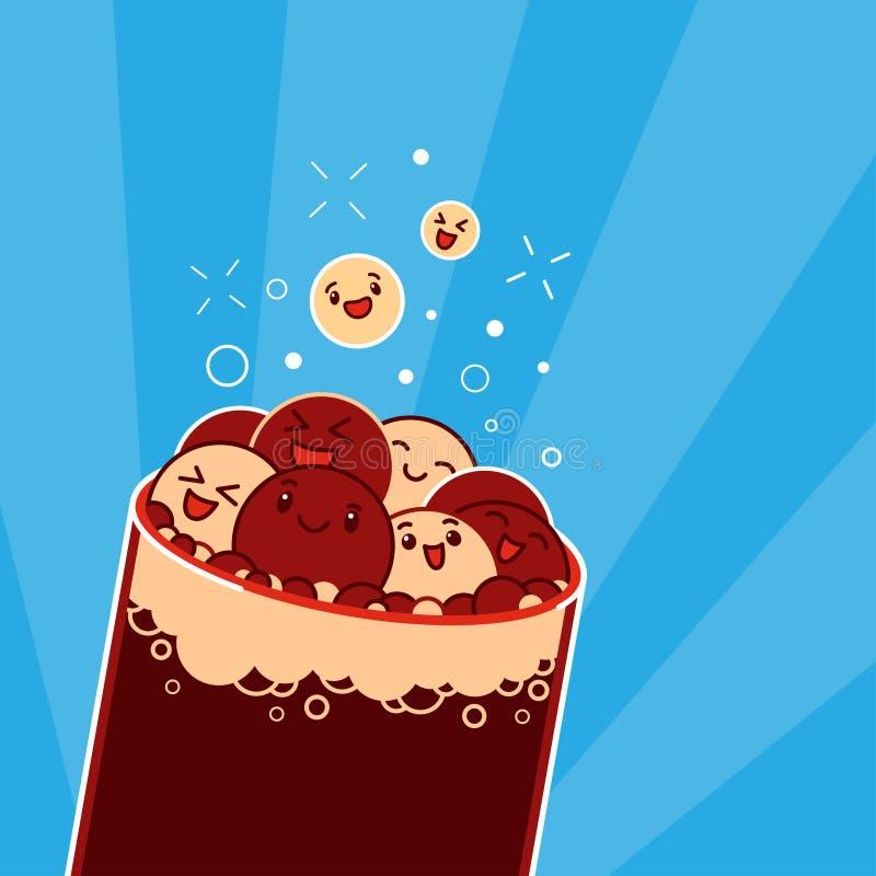 Bolle della cola di Kawaii illustrazione di stock