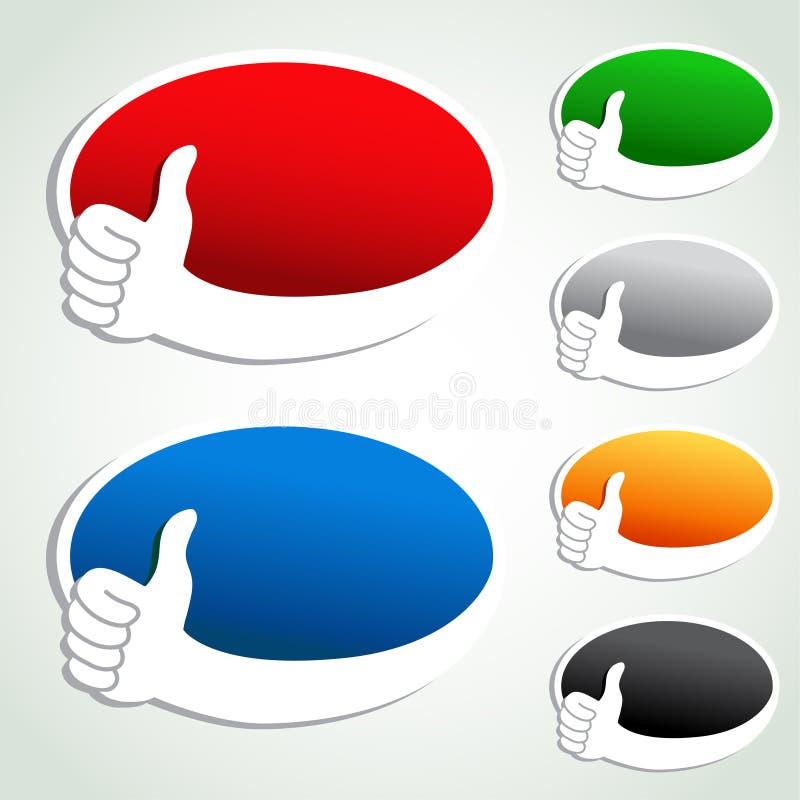 Bolle della pubblicità con l'indicatore della mano illustrazione vettoriale