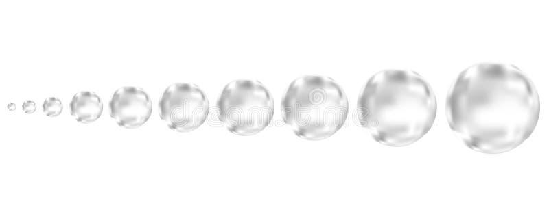 Bolle di aria essere in effervescenza nere subacquee su fondo bianco royalty illustrazione gratis