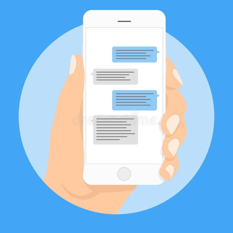 Bolle di chiacchierata del modello degli sms dello Smart Phone Disponga il vostro proprio testo alle nuvole del messaggio Compong illustrazione vettoriale