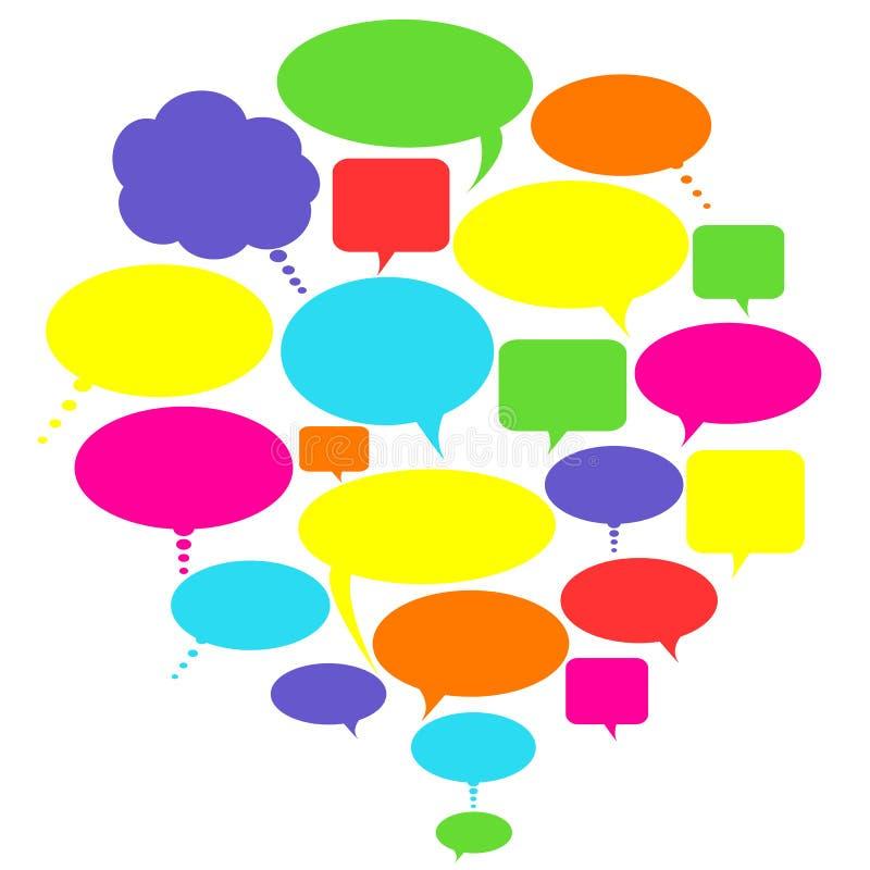 Bolle di colloquio, di pensiero e di discorso illustrazione vettoriale