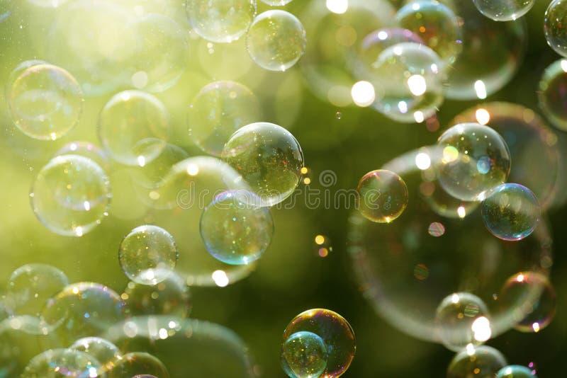Bolle di luce solare e di sapone di estate fotografie stock libere da diritti