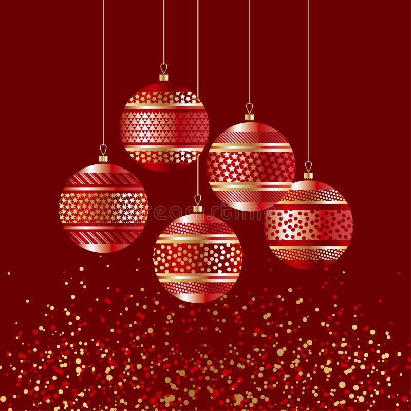 Bolle di lusso di natale di rosso con la decorazione dell'oro illustrazione di stock