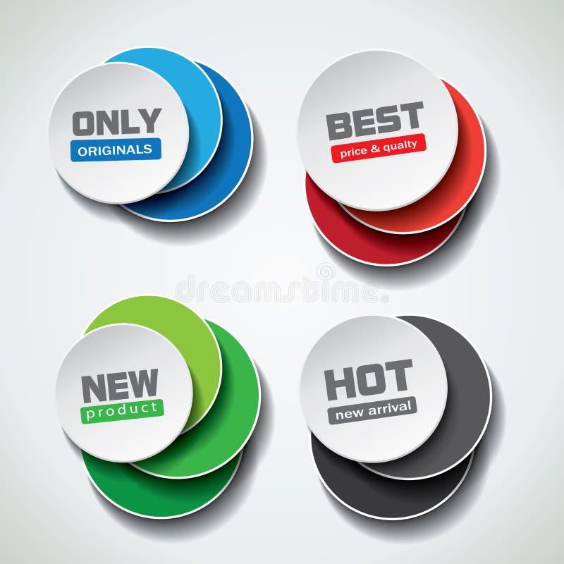 Bolle di offerta speciale nelle variazioni differenti di colore illustrazione di stock