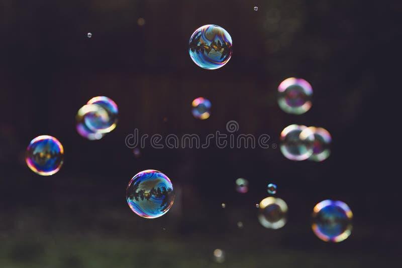 Bolle di sapone dell'arcobaleno su un fondo scuro immagini stock libere da diritti