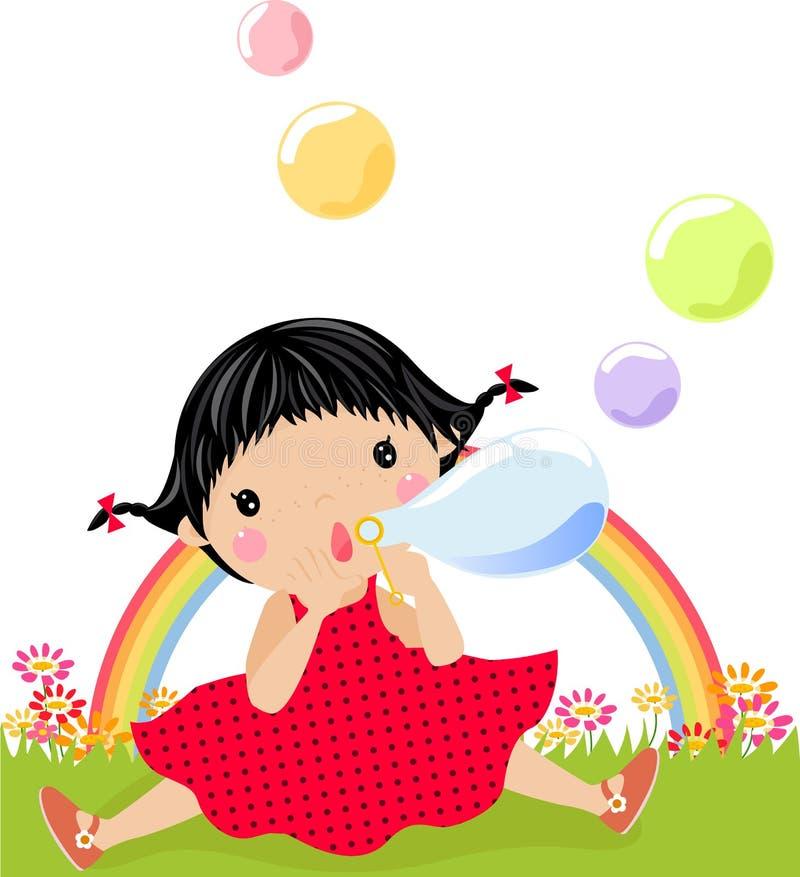 Bolle di sapone e della bambina illustrazione vettoriale