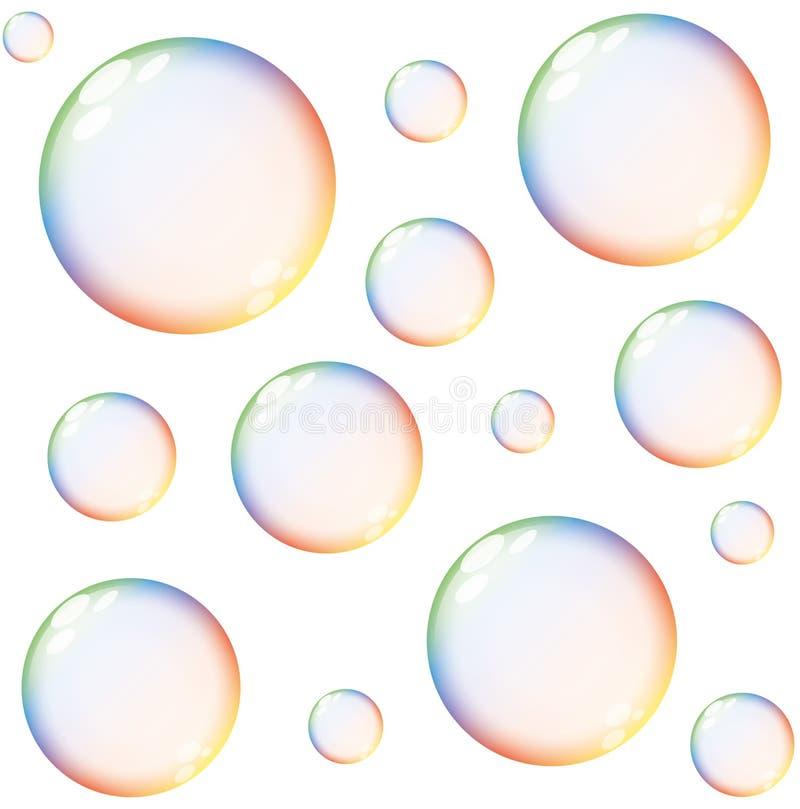 Bolle di sapone variopinte isolate dell'arcobaleno illustrazione di stock