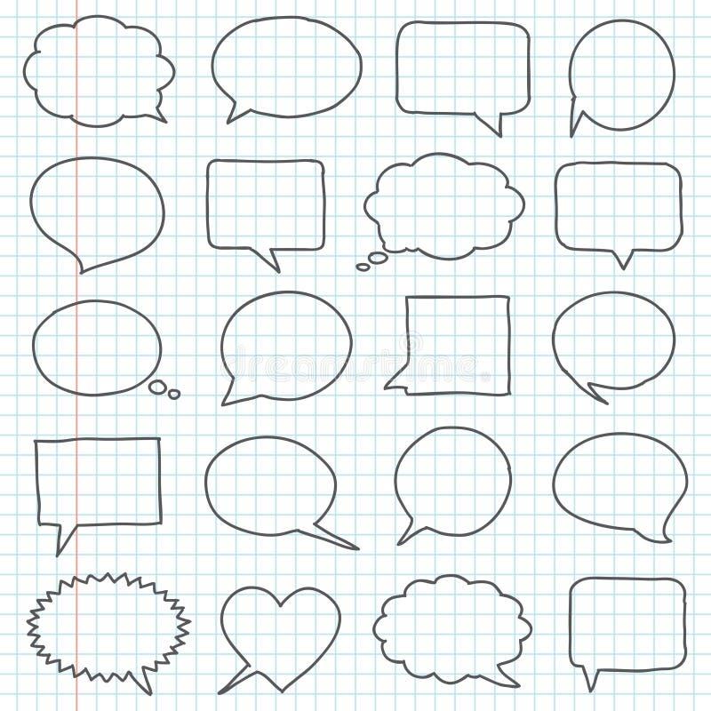 Bolle disegnate a mano di discorso illustrazione vettoriale