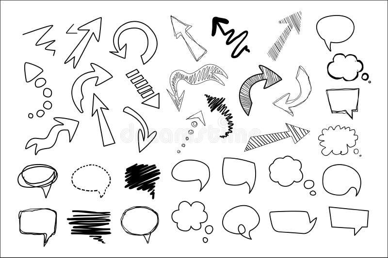 Bolle disegnate a mano grande insieme, illustrazione di pensiero e di discorso di vettore della raccolta degli elementi di proget royalty illustrazione gratis
