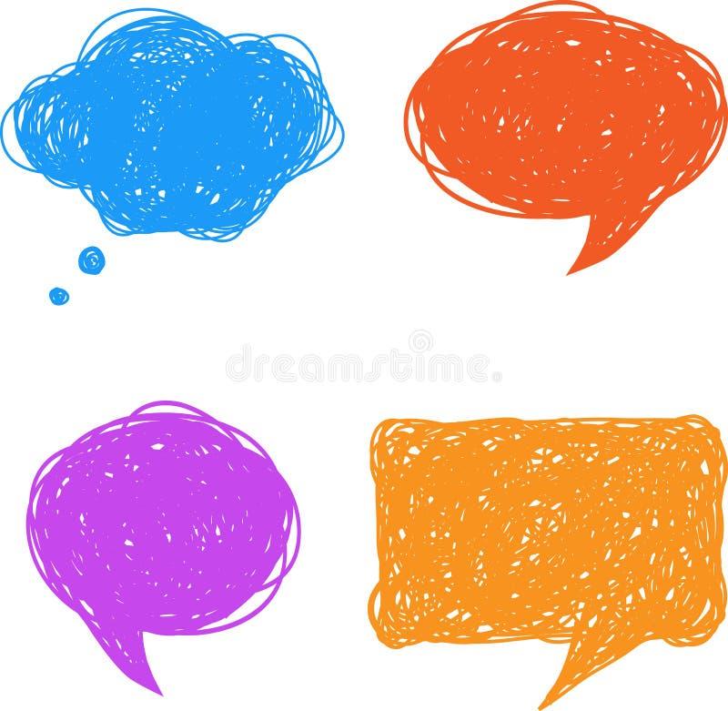 Bolle disegnate a mano variopinte di pensiero e di discorso illustrazione di stock