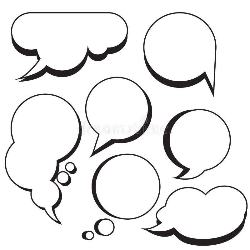 Bolle e caselle di testo comiche del fumetto delle nuvole illustrazione di stock