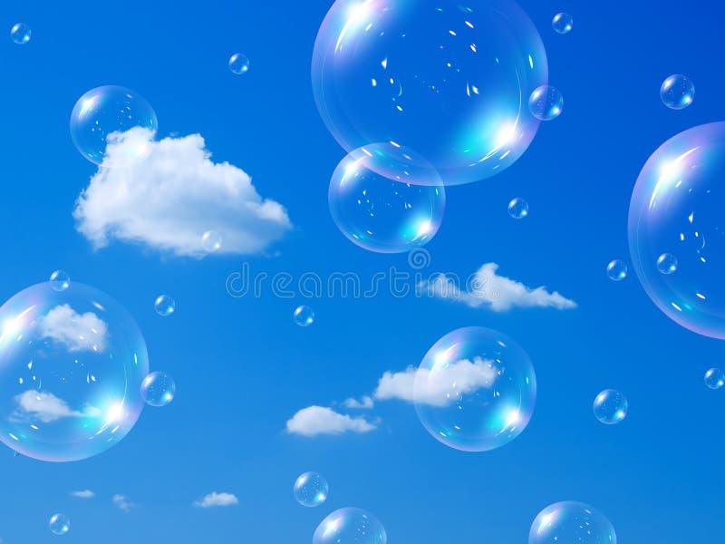 Bolle e cielo di sapone. immagini stock
