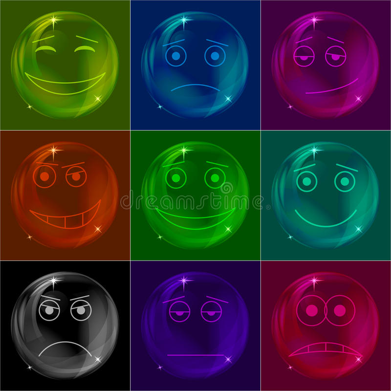 Bolle Gli Smiley, Variopinti Fotografia Stock