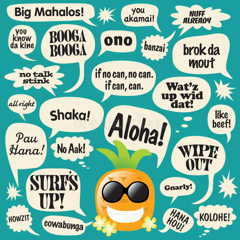 bolle l'ananas comico di frasi del hawaiian illustrazione di stock