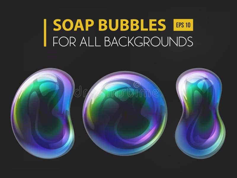 bolle realistiche del sapone 3d o dell'acqua illustrazione di stock