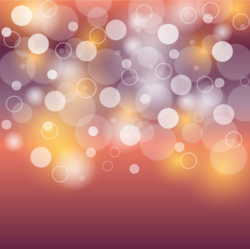 Bolle rosse del fondo porpora e giallo o luci bianche del bokeh royalty illustrazione gratis