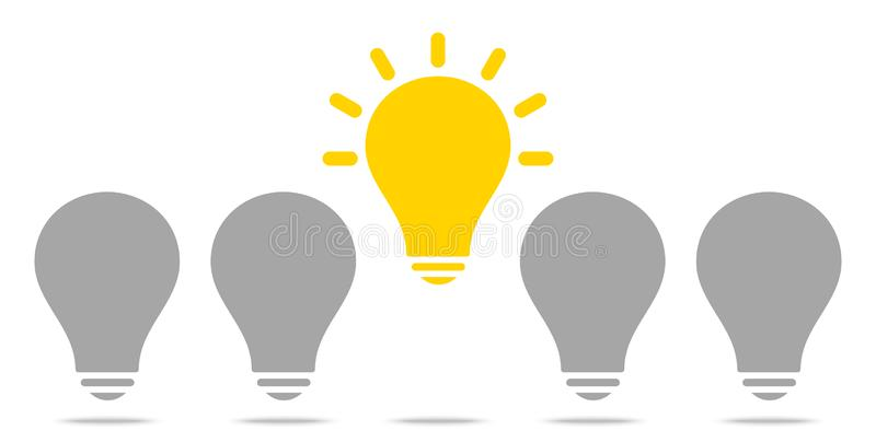 Bollen Één Toenemend het Glanzen Geel en Grijs Idee vector illustratie