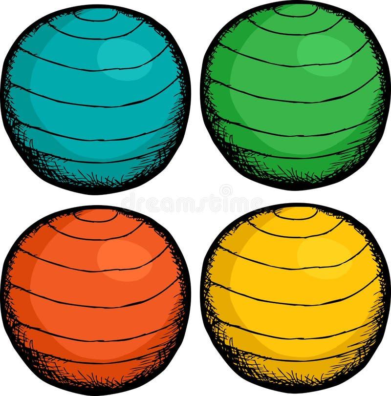 bollen colors pilates royaltyfri illustrationer