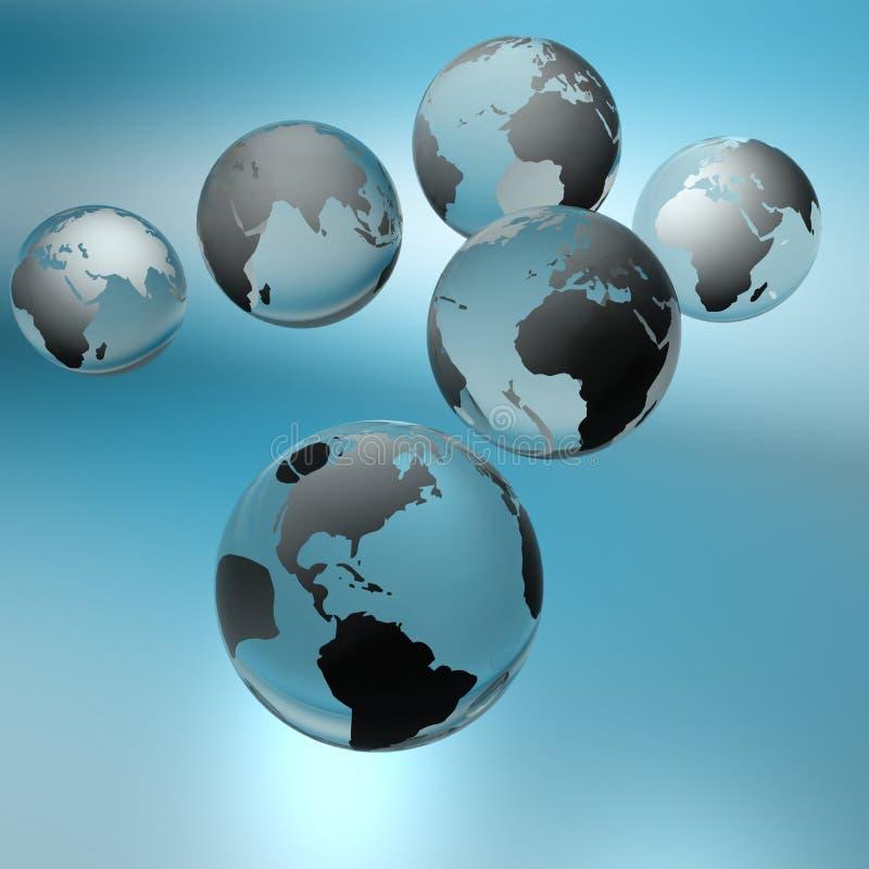 Bollen - de continenten van de wereld. royalty-vrije illustratie