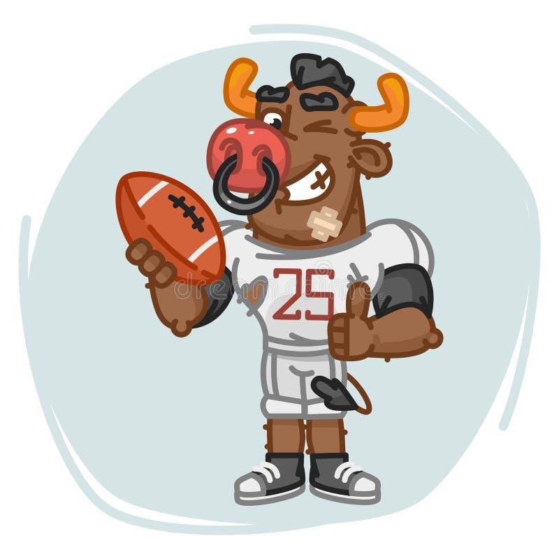 Bollen för tjurfotbollsspelarehåll visar upp tummar och blinkar stock illustrationer